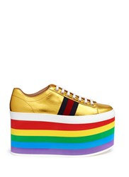 'Peggy' Rainbow Stripe Metallic Leather Platform Sneakers Multi Colour