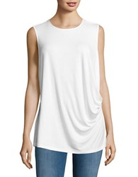 Lord And Taylor Plus Roundneck Sleeveless Ruched Top White