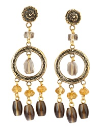 Stephen Dweck Amber And Smoky Quartz Dangle Earrings