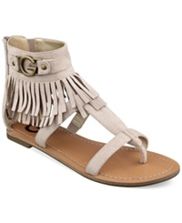G By Guess Women's Hazed Fringe Gladiator Thong Sandals