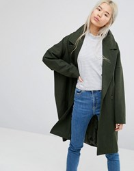 Weekday Cocoon Coat With Pockets Military Green