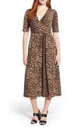 Chaus Leopard Print Faux Wrap Dress Rich Black