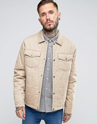 Asos Quilted Cotton Jacket In Stone Stone