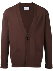 Estnation Front Pockets Cardigan Men Polyester Rayon L Brown