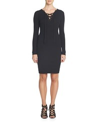 1.State Cotton Ribbed Sheath Dress Black