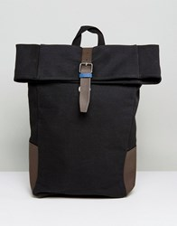 New Look Roll Top Backpack In Black Navy