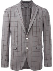 Tagliatore Grid Print Single Breasted Blazer Grey