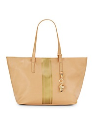 Cynthia Rowley Hayden Leather Metallic Racing Stripe Tote Vachetta
