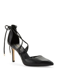 424 Fifth Bailee Leather Point Toe Lace Up Pumps Black