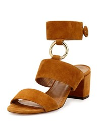 Aquazzura Safari Suede 50Mm Sandal Cognac
