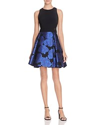 Aqua Mixed Media Dress Black Blue