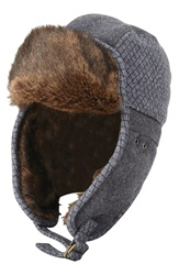 Original Penguin Quilted Melton Wool And Faux Fur Trapper Hat Charcoal Heather