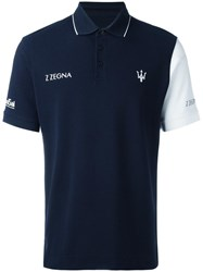 Z Zegna Piquet Bicolour Polo Shirt Blue