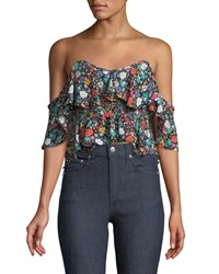 Likely Lavato Floral Print Off The Shoulder Ruffle Top Black Pattern