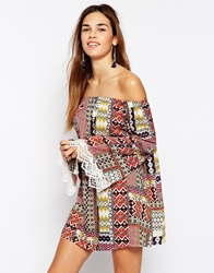 Kiss The Sky Off Shoulder Printed Dress With Lace Trim Flare Sleeves Multi