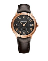 Raymond Weil Stainless Steel Crocodile Embossed Leather Strap Watch Brown