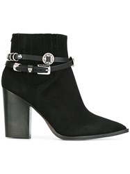 Htc Hollywood Trading Company Buckled Strap Ankle Boots Black