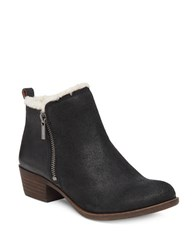 Lucky Brand Basel Leather And Faux Shearling Ankle Boots Black