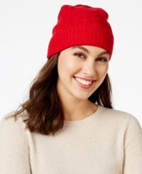 Charter Club Cable Cashmere Cuff Hat Only At Macy's Tomato