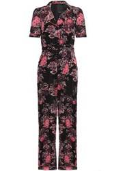 Anna Sui Woman Belted Printed Cotton And Silk Blend Jumpsuit Black