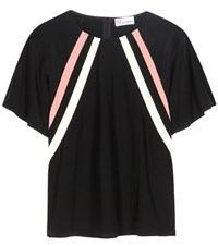 Red Valentino Silk Crepe Top Black