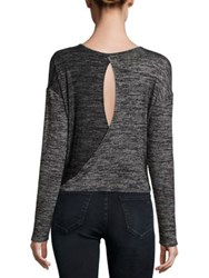Rag And Bone Mia Twisted Open Back T Shirt Black Heather