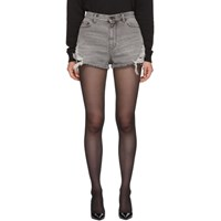 Saint Laurent Grey Denim Used Look Baggy Shorts