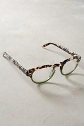 Anthropologie Snow Leopard Reading Glasses Green Motif