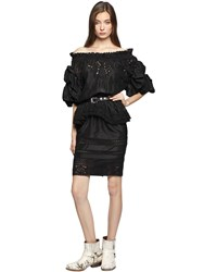 Faith Connexion Washed Silk And Lace Off Shoulder Dress