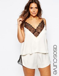 Asos Curve Delicate Lace Insert Cami And Short Set Cream