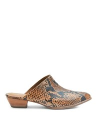 Matisse Clover Snake Print Leather Mules Tan