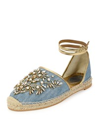 Rene Caovilla Strass And Denim Ankle Wrap Espadrille Sandal Blue Denim Blue