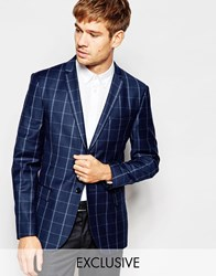Number Eight Savile Row Exclusive Check Flannel Blazer In Skinny Fit Blue