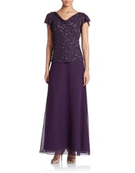 J Kara Embellished Popover Dress Plum Shaded