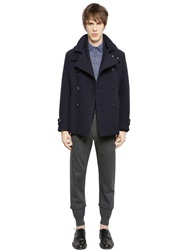Emporio Armani Wool Blend Knit Effect Peacoat Navy