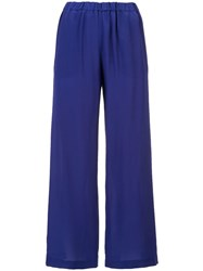 Aspesi Elastic Waist Straight Trousers Blue