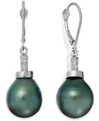 Macy's Baroque Tahitian Pearl 11Mm And Diamond Accent Drop Earring In 14K White Gold Gray