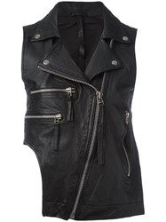 Barbara I Gongini Sleeveless Biker Jacket Black