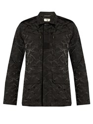 Saint Laurent Camouflage Jacquard Cotton Blend Jacket Black