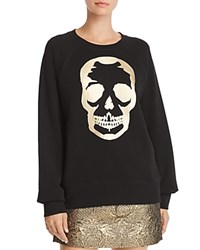 Aqua Zadig And Voltaire X Foil Skull Sweatshirt 100 Exclusive Wash Black Gold