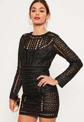 Missguided Black Crochet Lace Long Sleeve Bodycon Dress