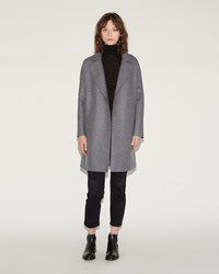 Harris Wharf London Oversized Collar Coat Gray Mouline