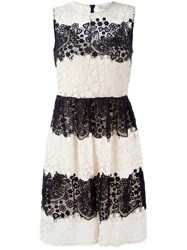 Red Valentino Lace Flared Dress Nude Neutrals
