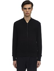 Z Zegna Hydro Repellent Textured Bomber Sweater Blue