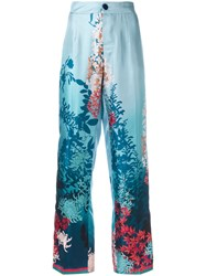 F.R.S For Restless Sleepers Botanical Print Trousers Blue