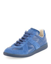 Maison Martin Margiela Men's Replica Leather And Suede Low Top Sneaker Blue