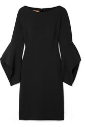 Michael Kors Collection Draped Wool Blend Mini Dress Black
