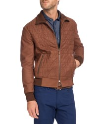 Berluti Quilted Leather Bomber Jacket Brown