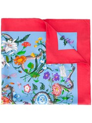 Gucci Floral Snake Print Scarf Red