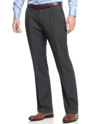Nautica Check Pleated Dress Pants Charcoal